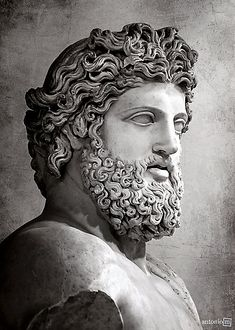 """Close-up of the ca. 2nd century AD statue of the ruler of the Olympian #gods of #Greek #mythology, Zeus (Photo: AntonioM) - Buste colossal de Zeus, dit  """"Jupiter de Versailles"""" @MuseeLouvre"""