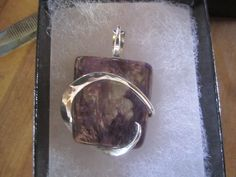 Charoite Pendant Set in Sterling Silver Wire by TKBWireForger, $55.00
