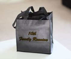 Load a gift bag with reunion souvenir items such as a pen, notebook, commemorative mint tin, key chain, tee shirt, all with theme logo, as well as a blank family tree template to submit for memory book.  Include map of attractions in the city, contact information for others attending, program of events, etc.