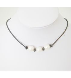3 pearl necklace by Lundy Lu. hand made in Mississippi with real leather and fresh water pearls!