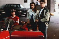 Matthew Broderick, Mia Sara, Alan Ruck, and Jonathan Schmock in Ferris Bueller's Day Off 80s Movies, Great Movies, Film Movie, 1980s Films, Ferris Bueller, Mia Sara, Life Moves Pretty Fast, Three Best Friends, Twist And Shout