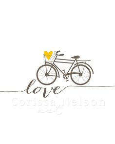 Bicycle Love Printable in Brown and Mustard by CorissaNelsonArt, $5.00