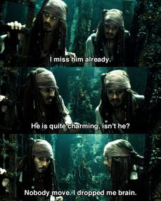 Captain Jack Sparrow in Disney Pirates of the Caribbean quote. One of my favourite scenes