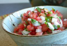 Pico De Gallo - this is very close to my recipe but I just squeeze a whole lime into the mixture, add about half a can of tomato sauce for a little more juice and dice (very small pieces with no seeds) 1-3 Serrano peppers, depending on taste. The longer you let it set for the flavors to combine, the hotter it gets. Oh, and don't forget the cilantro!!!