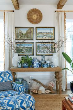 After living in Manhattan for 25 years, designer Jenny Keenan's clients decided they were ready for a change of pace, so they made the beach town of Sullivan's Island, South Carolina their full-time home. They turned to Keenan to create an informal elegance that would infuse a relaxed feel, but also transfer some of the layered coziness to which they were …