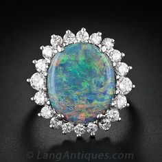Fine Black Opal and Diamond Ring - 30-91-1810 - Lang Antiques