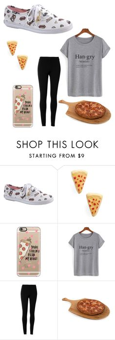 """""""Pizza"""" by elphabaeverdeen ❤ liked on Polyvore featuring Keds, Venessa Arizaga, Casetify, Max Studio, Core Home, food, pizza, yum and foodlovers"""