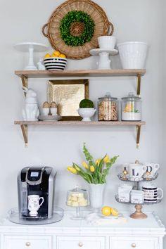 Spring Coffee Bar Visit the post for more. Coffee Bar Design, Coffee Bar Home, Home Coffee Stations, Coffee Corner, Coffee Blog, Home Bar Decor, Bar Cart Decor, Kitchen Decor, Fridge Decor