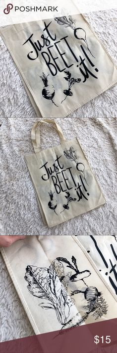 "JUST BEET IT Reusable Shopping Tote Bag Just beet it graphic print reusable tote bag. 15.5""x 13""x 7"". Pin prick from the price tag. ✨OFFERS WELCOME✨ Bags Totes"