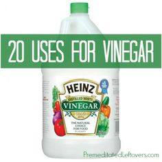 20 ways that you can use vinegar in your home. Includes cooking tips using vinegar, cleaning tips using vinegar, and a gardening tips.