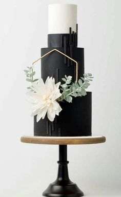 Geometric Black & White Cake