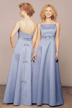 Spaghetti straps satin bridesmaid dress with natural waist