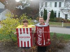 Homemade Popcorn and Coke Costumes: This costume was brought about by Tyler(popcorn). He loves the movies and wanted to be the favorite snack at the movies for Halloween.  But popcorn could