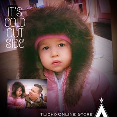 What a cutie! Lee Mandeville said her mamma put the beaver fur around her hood of her jacket to protect her #beautiful face from the cold weather. #allthingsnative #happyweekend everyone #staywarm