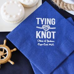 Personalized Nautical Themed Bridal Napkins