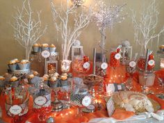 Perfectly Posh Candy Buffets Orange & Gray Theme www.perfectlyposhct.com