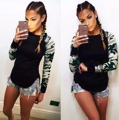 Shop out Camouflage Army Long Sleeve Top