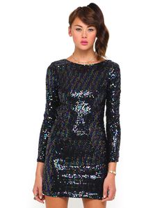 Motel Gabby Bodycon Dress in Opal Sequin, Motel, Sequins, Bodycon Dress, Dresses With Sleeves, Long Sleeve, Party, How To Wear, Collection, Fashion