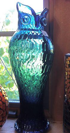 Blue glass owl vase