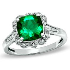 8.0mm Cushion-Cut Lab-Created Emerald Vintage Ring in Sterling Silver - Size 7 - View All Rings - Zales