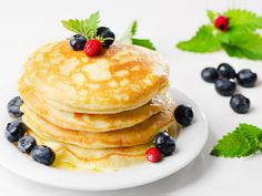 Vegan Pancakes - Vanilla Flavored Pancake with Soy Milk and Maple Syrup