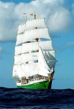 "German sail training vessel and tall ship ""Alexander von Humboldt II"" at sea"