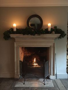 Candlelight and a cosy fire. Georgian Interiors, Georgian Homes, Cottage Interiors, Georgian Townhouse, Inglenook Fireplace, Cozy Fireplace, Christmas Fireplace Mantels, Fall Mantels, Mantles