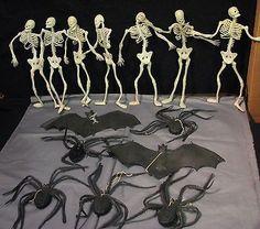 "Lot - 2 Rubber Bats 5 Black Spiders 7 - 12""Full Skeletons Halloween Decor Props Sold $10.00"