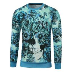 Prezzi e Sconti: #Crew neck floral skull printed sweatshirt Instock  ad Euro 19.05 in #Blue #Mens clothing mens hoodies