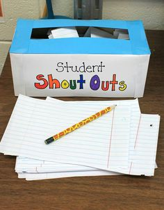 Love this idea!  Students write an anonymous positive note or compliment about a classmate and put it in the box, then all the notes get posted on a shout out board.