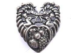 Vintage GIMINI Strling Silver Heart Pin Angels by KMalinkaVintage
