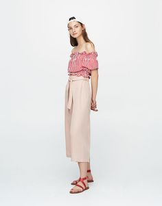Pull&Bear - woman - new - culottes with tied belt - pink - 09681311-I2017