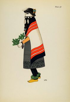 1941 Lithograph Pueblo Indian Costume. Kachina Maiden, Zuni by Virginia More Roediger (via periodpaper).