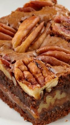 Caramel-Pecan Brownies Recipe ~ Dark chocolate brownies layered with chewy caramel and crunchy pecans