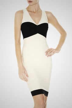 HERVE LEGER HOLLIS COLORBLOCK DRESS