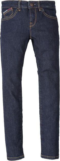 Dunkelblaue Sophie Skinny Fit-Jeans von Tommy Hilfiger, im 5-Pocket-Stil mit schmalem Bein und normaler Leibhöhe. Flag-Label auf der Münztasche.98% Baumwolle, 2% Elastan...