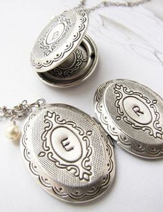 Bridesmaid gifts // Personalized Initial Locket