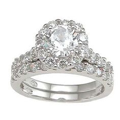 BERRICLE Sterling Silver Cushion CZ Halo Engagement Ring Set 114