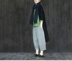 Black and White Squares Pants Linen Causel Women Clothes – FantasyLinen