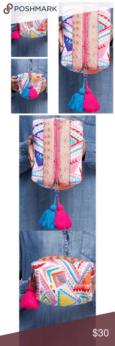 Embroidered Makeup Bag Brand new! Super cute! 15% off of bundles! FEEL LIKE MAKING AN OFFER? Please do it through the make an offer feature as I will no longer negotiate prices in the comments section. PRICE IS FINAL ON ITEMS $15 or less unless bundled. Hannah Beury Bags