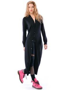 Linda Hypnotic Black Maxi - czarna koszula maxi / sukienka