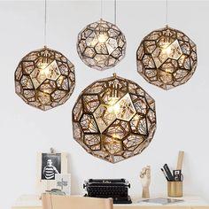 Art deco led pendant lights metal for dining room modern pendant lamp e27 gold/ silvery hanging lights vintage lamp AC 110V 220V