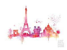 Paris Skyline Giclee Print by Summer Thornton at Art.com