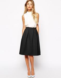 Sheer Beige Organza A-Line Midi Skirt - Skirt - Bottoms - Retro ...