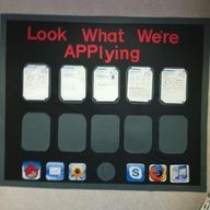I-Pad bulletin board.  I could change this to show student work samples throughout the year.  I'm not sure how, but I could try.