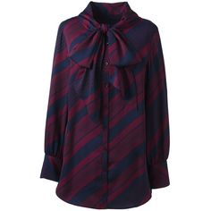 Lands' End Women's Plus Size Bow Tie Tunic Top ($70) ❤ liked on Polyvore featuring plus size women's fashion, plus size clothing, plus size tops, plus size tunics, red, purple top, womens plus tunics, lands end tunic and red tunic