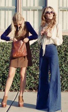 vintage 70s bell bottom wide leg pants | mini dress + shoes 1970s