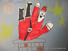 Great website for project ideas! This image, falling Santa with hand tracing. Much better than Turkey-Hands!