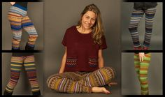 Zig Zag Asian Collection - Knit acrylic leggings with ethnic pattern - Nepal