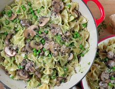 Farfalle with Walnut-Tarragon Pesto, Cremini Mushrooms and Peas